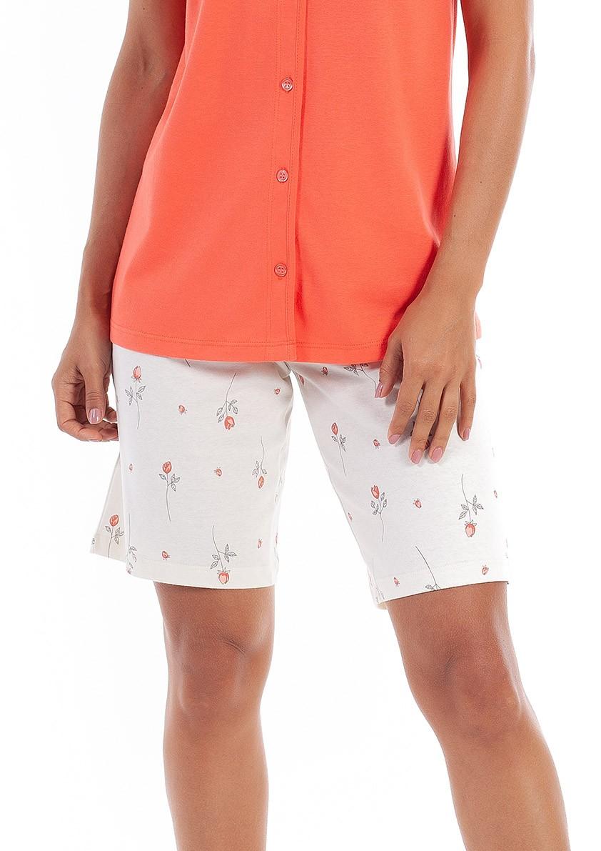 Pijama de Bermuda Aberto com Botão Manga Curta em Malha de Algodão