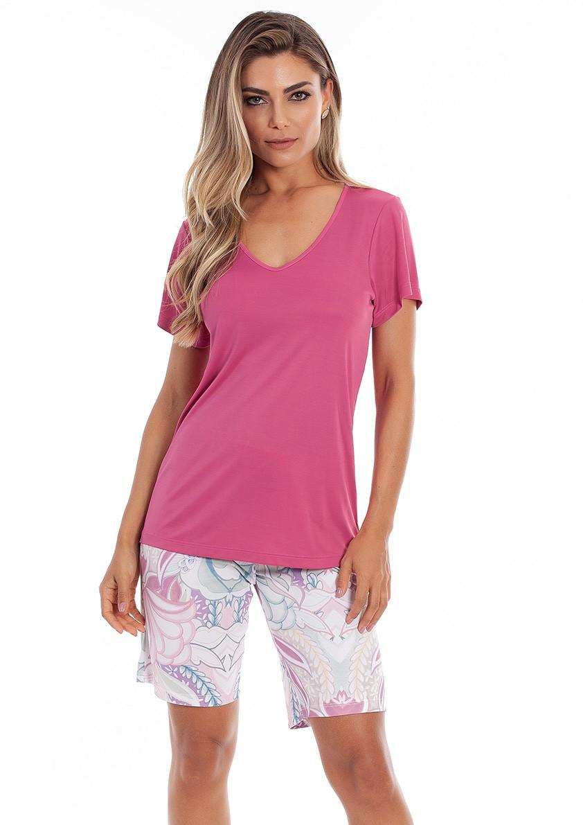 Pijama de Bermuda com  Manga Curta em Liganete Amni