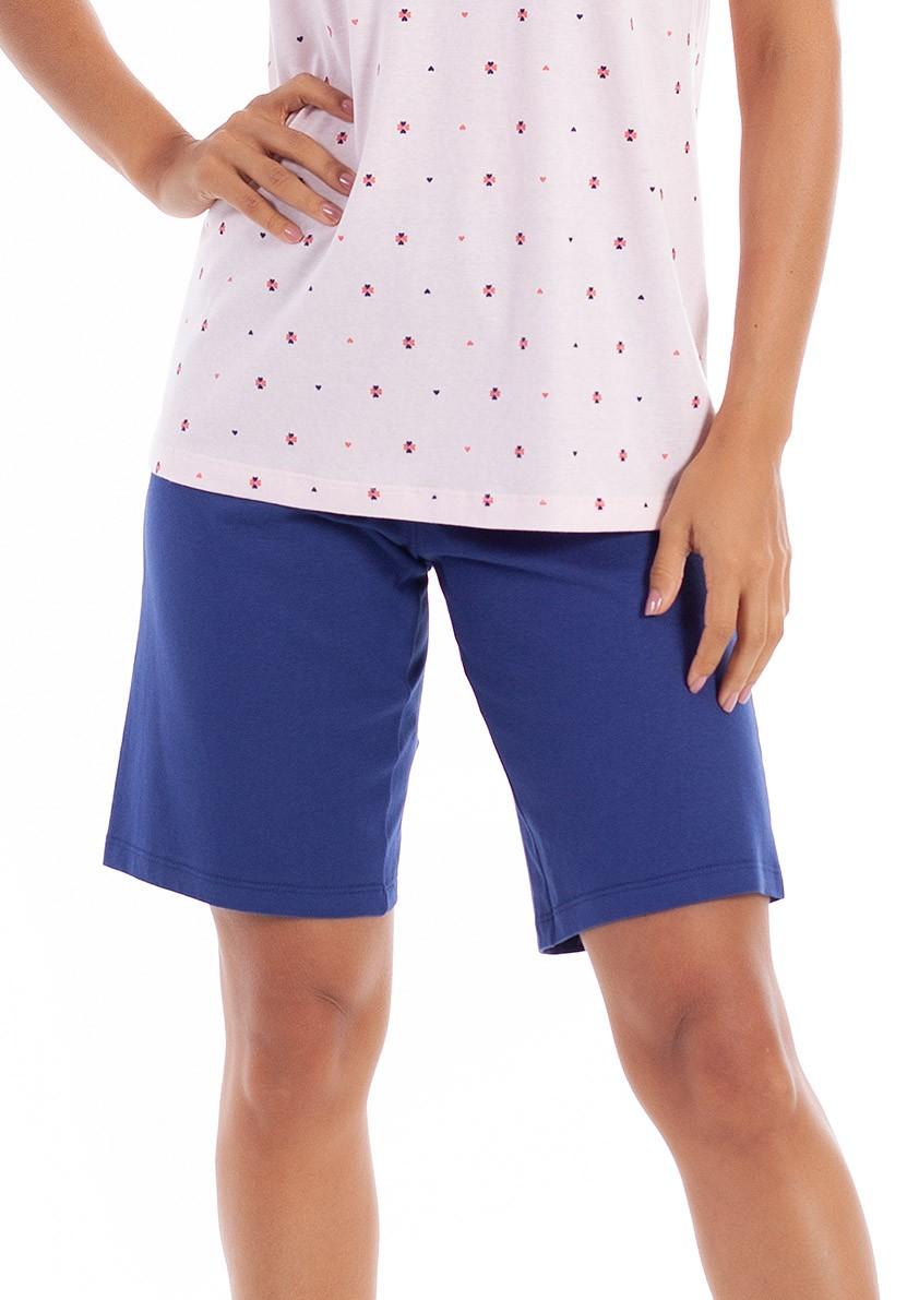 Pijama de Bermuda com Manga Curta em Malha de Algodão