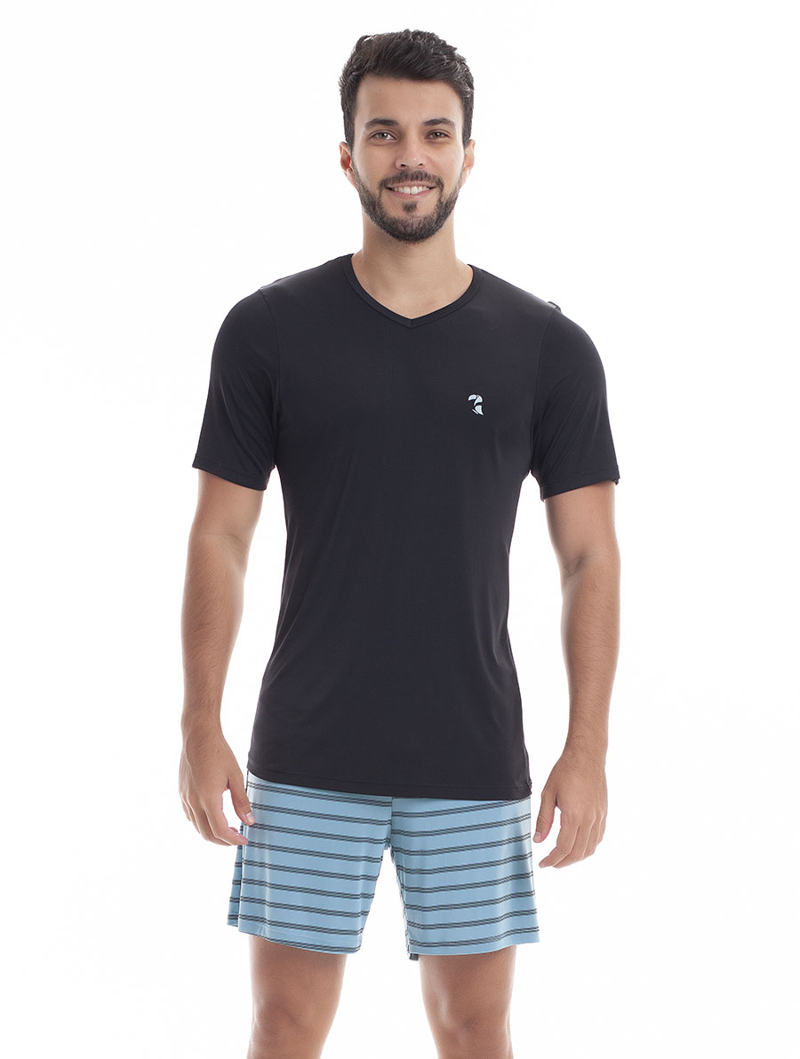 Pijama de Bermuda com Manga Curta para Homem em Liganete Amni