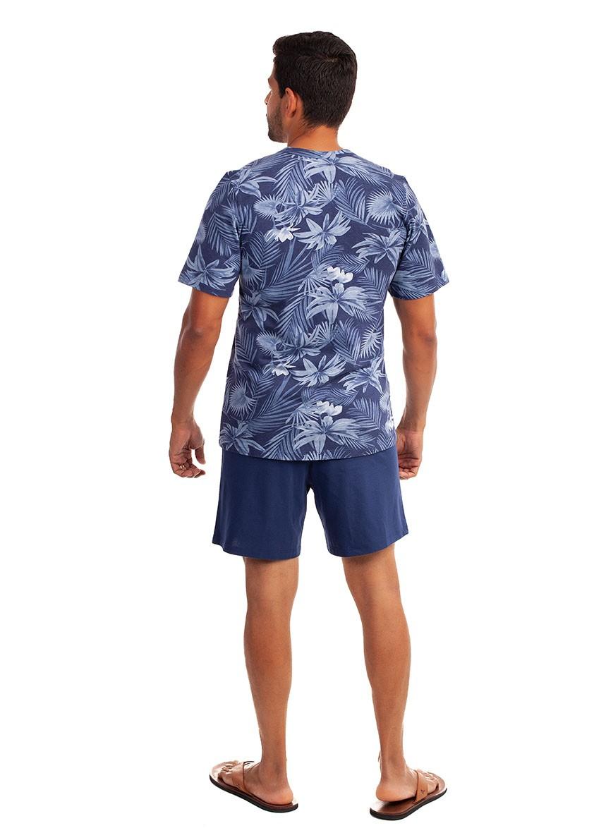 Pijama de Bermuda com Manga Curta para Homem em Malha de Algodão