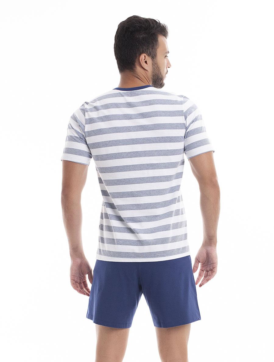 Pijama de Bermuda com Manga Curta para Homem em Malha Fio Tinto