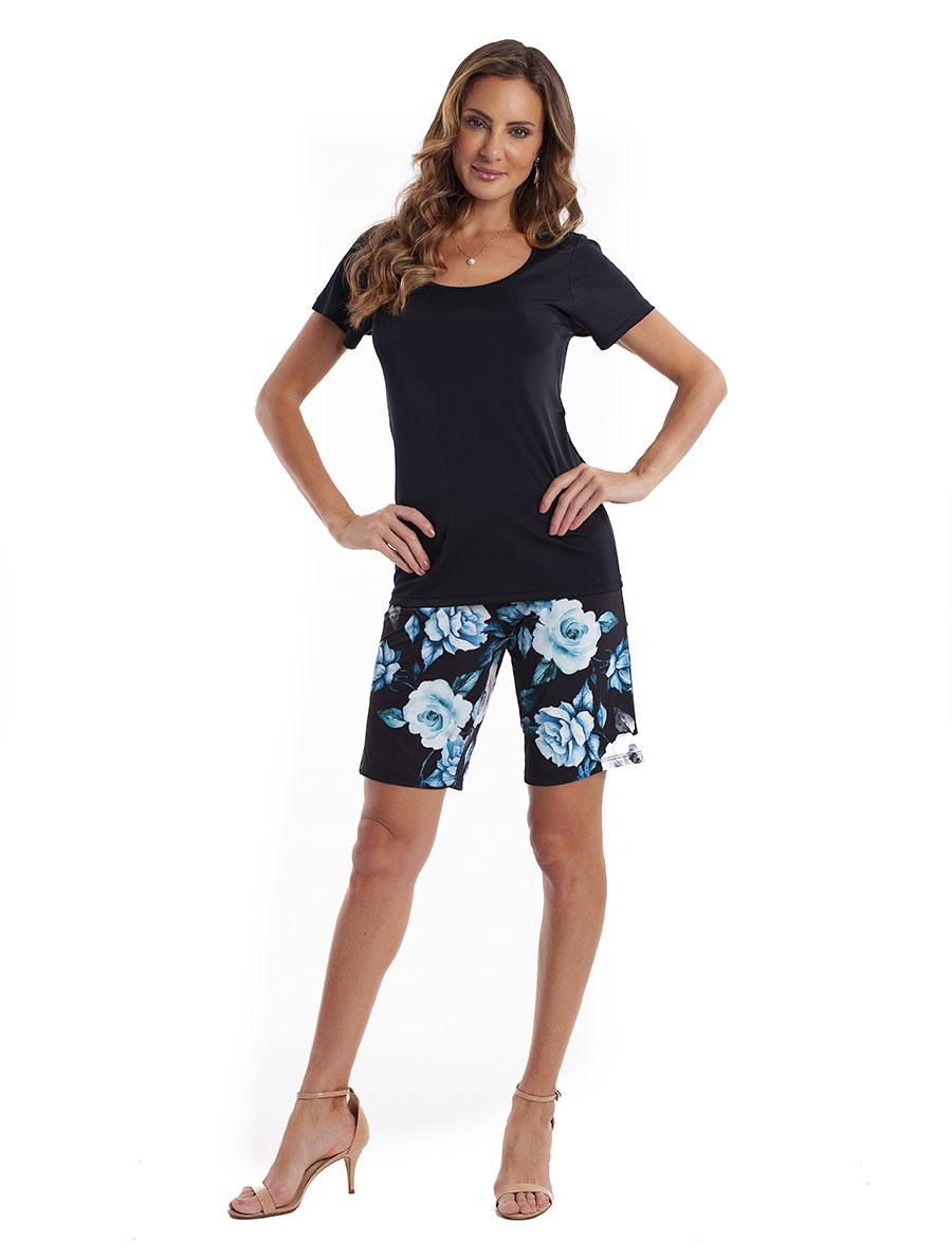 Pijama de Bermuda com Manga Curta em Liganete Super Light