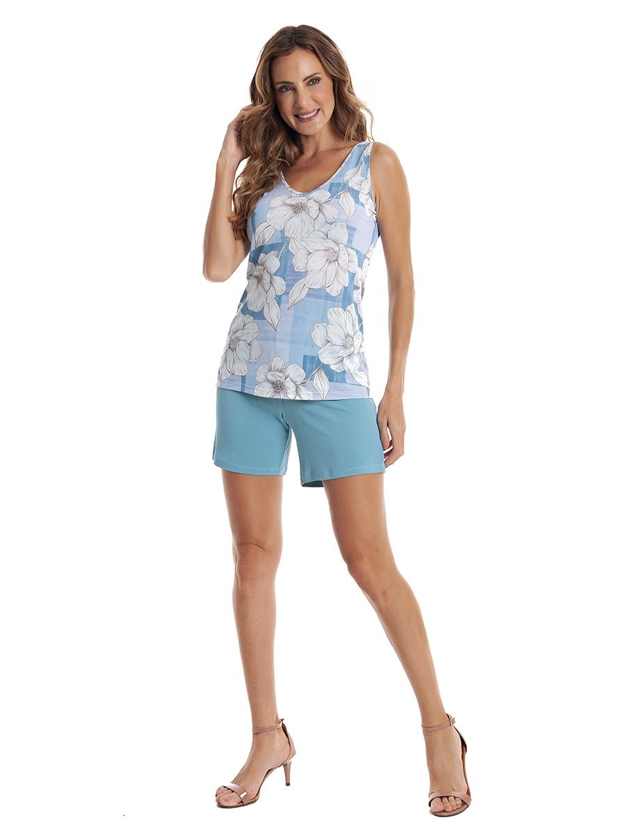 Pijama de Bermuda Regata com Costas Cavada em Liganete Amni