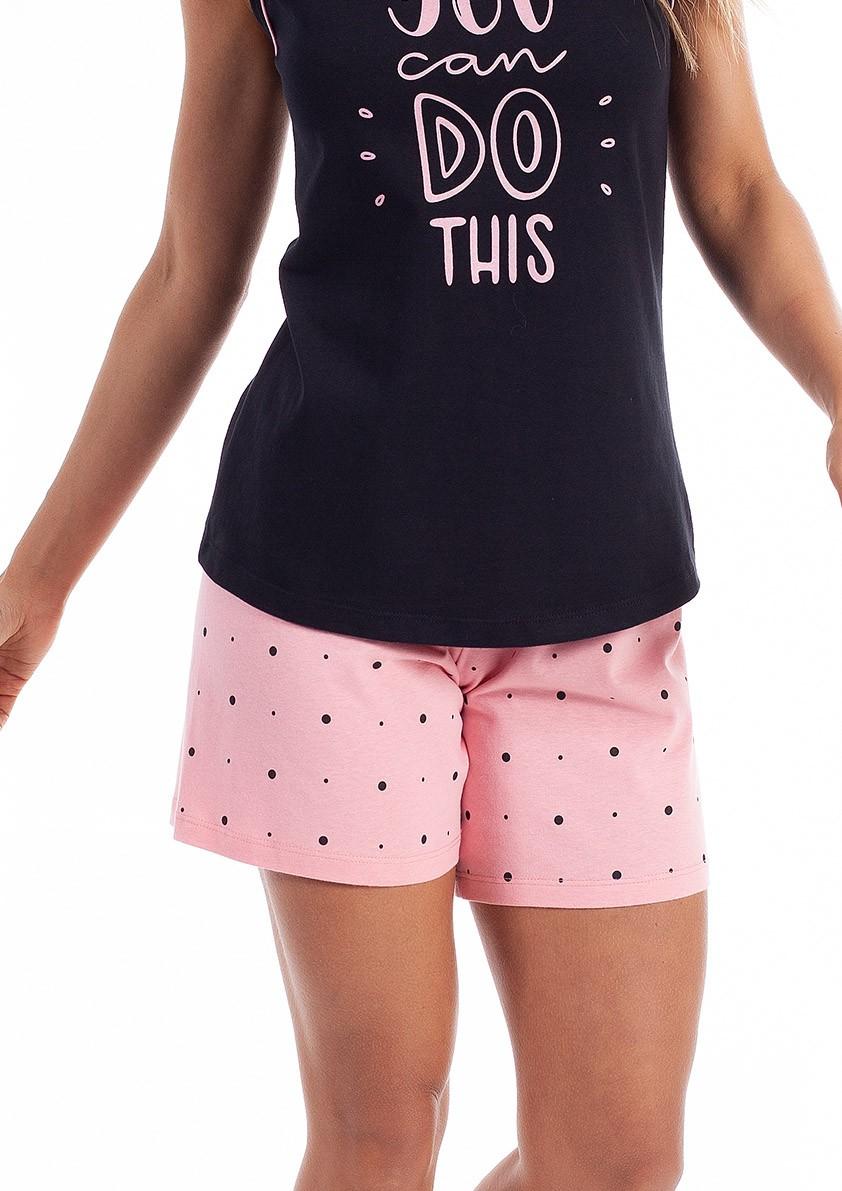 Pijama de Bermuda Regata com Costas Cavada em Malha de Algodão
