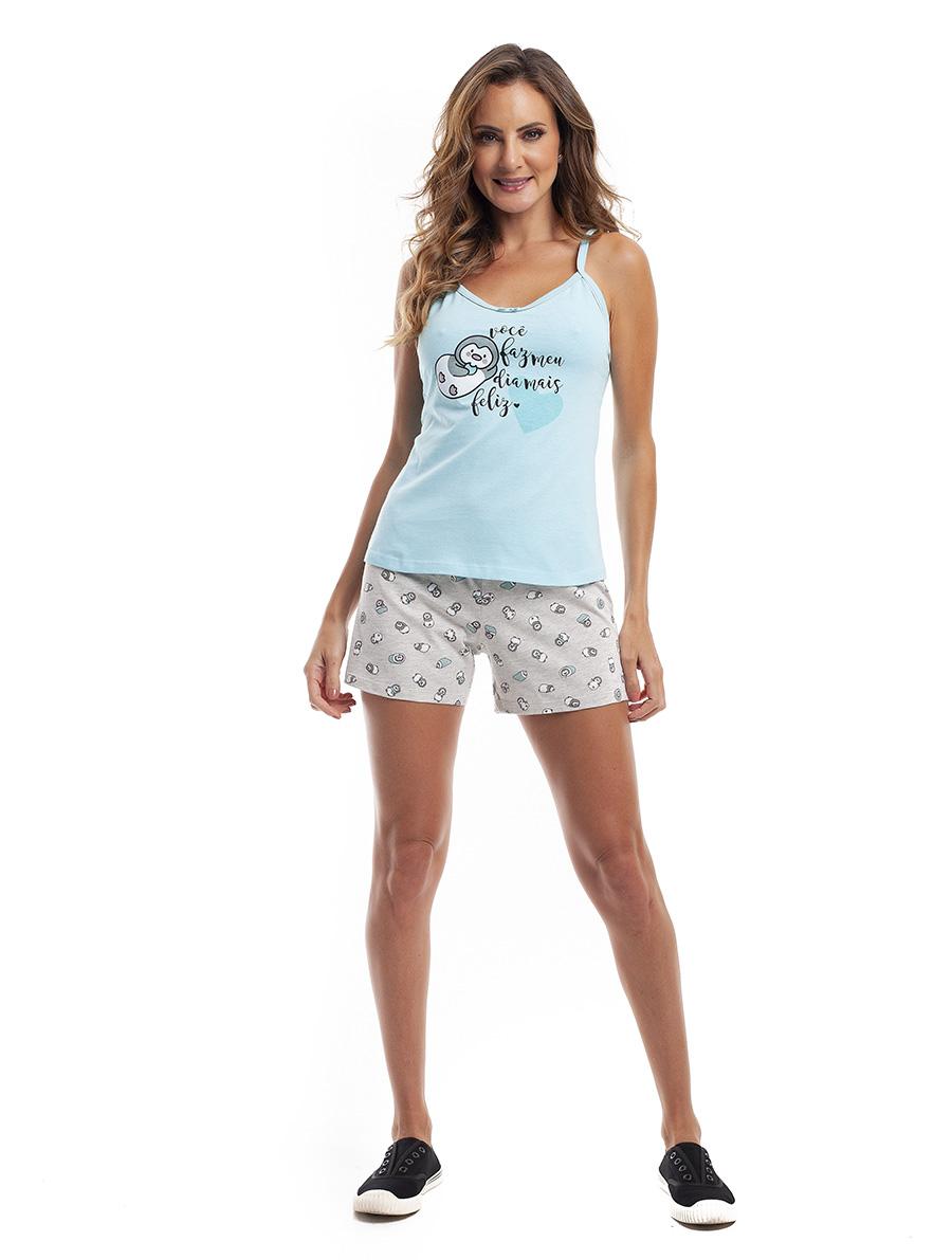 Pijama de Short com Alças Reguláveis em Malha de Algodão