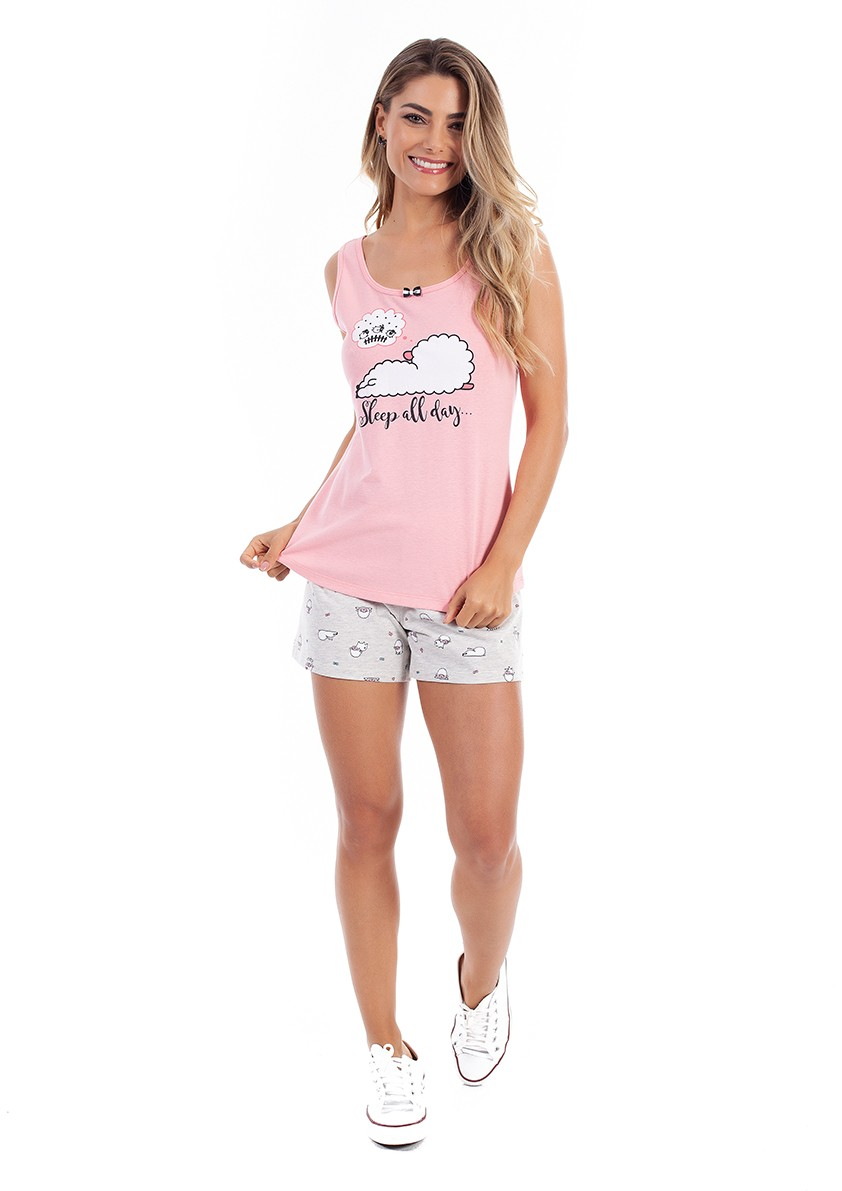 Pijama de Short Regata com Costas Cavada em Malha de Algodão