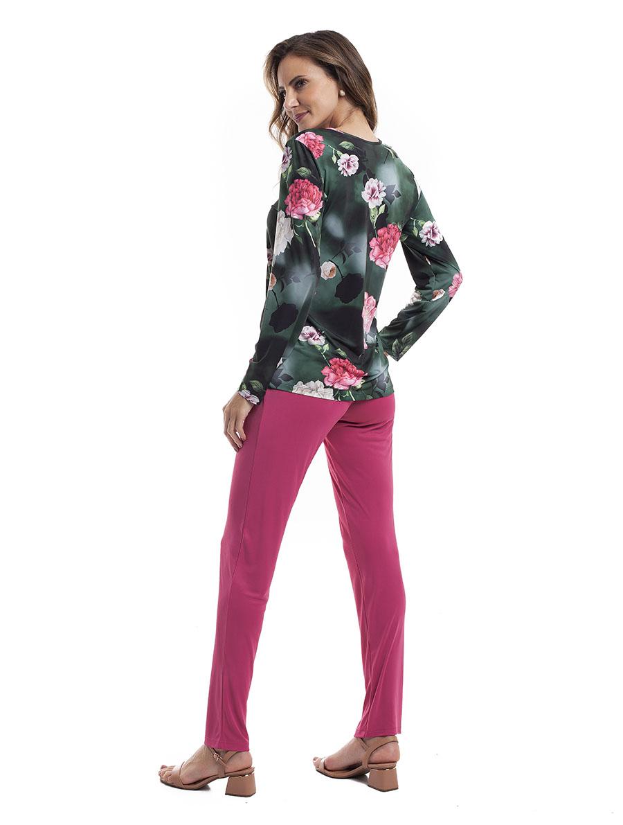 Pijama Longo Feminino para Meia Estação em Liganete Super Light
