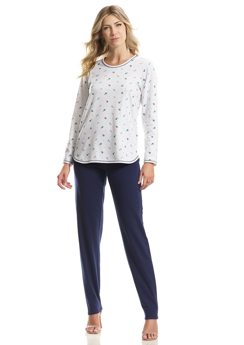 Pijama Longo Clássico para Frio em Moletinho Felpado