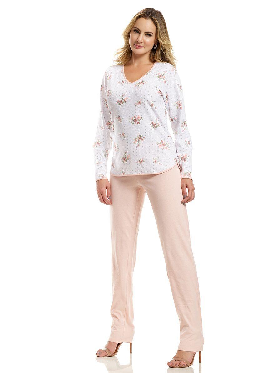Pijama Longo para Meia Estação em Malha de Algodão