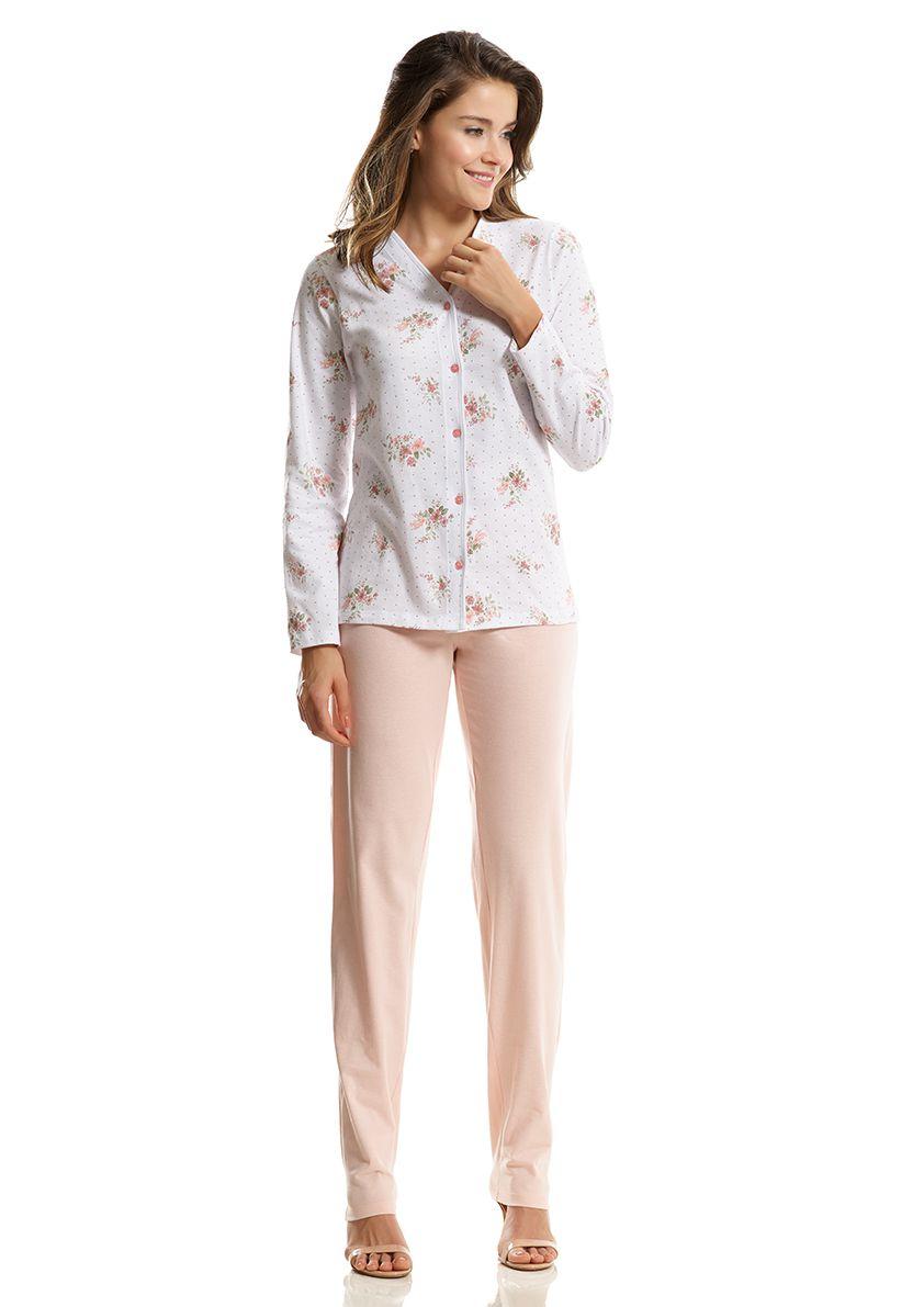 Pijama Longo Aberto para Meia Estação em Malha de Algodão