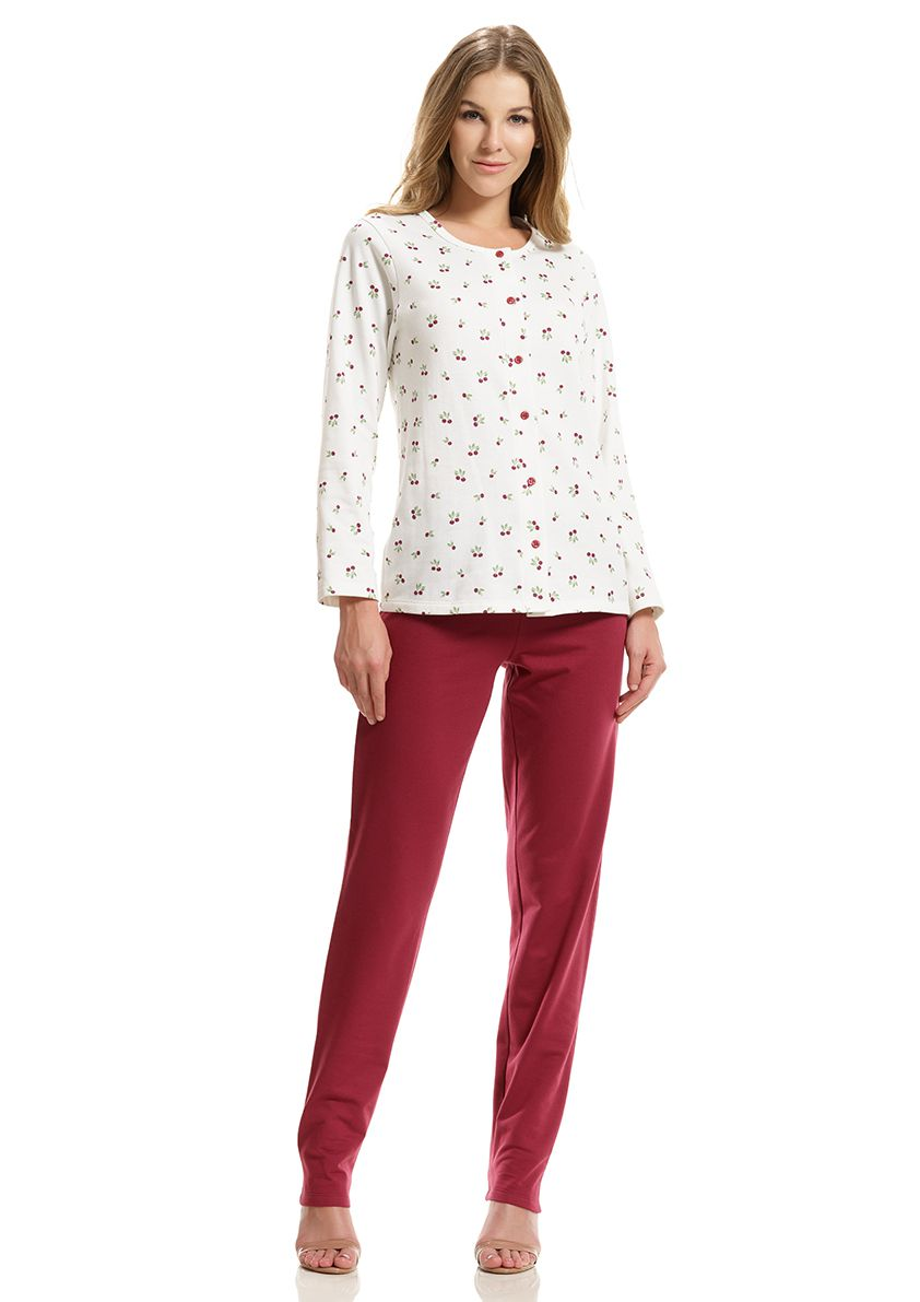Pijama Longo Aberto de abotoar para Frio em Moletinho Felpado