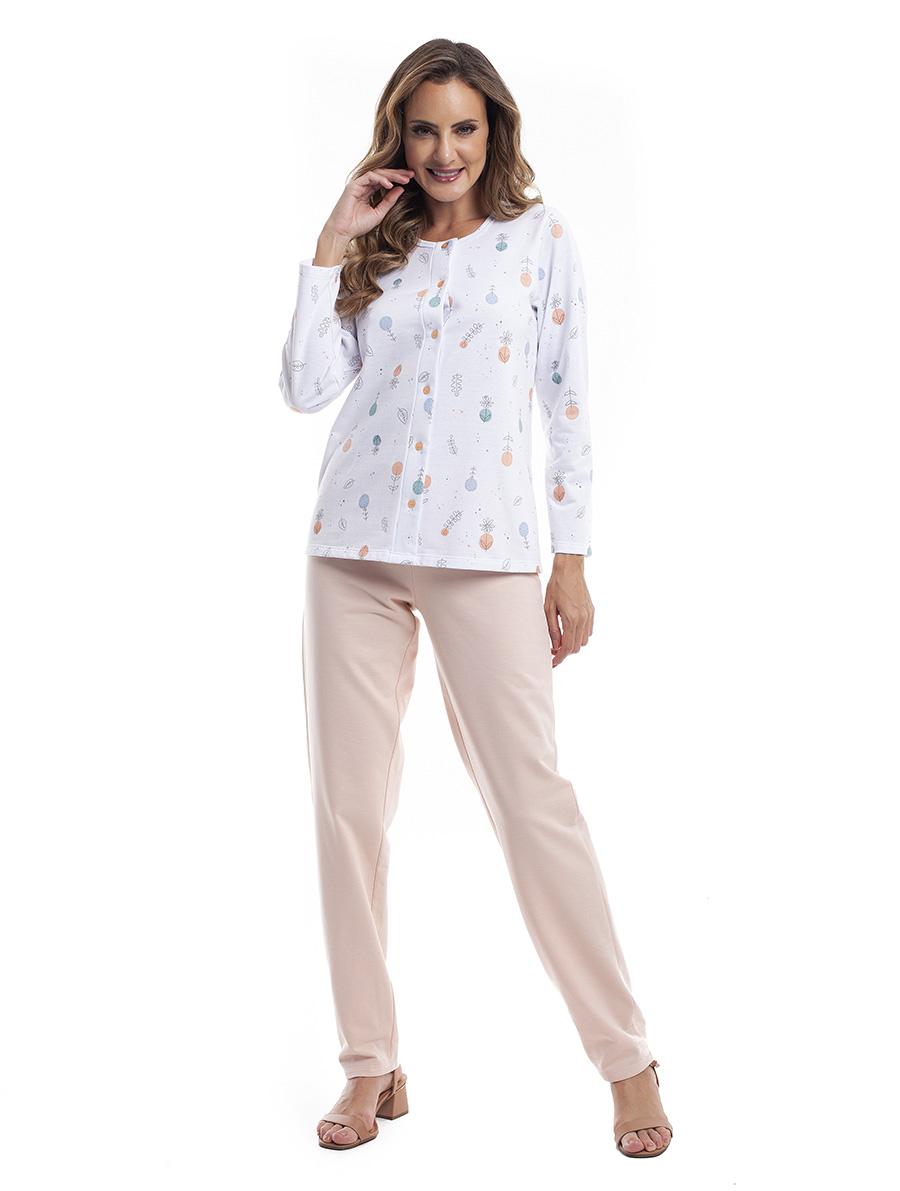 Pijama Longo Feminino Aberto para Frio em Moletinho Felpado