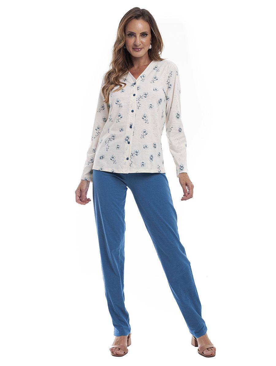 Pijama Longo Feminino Aberto para Meia Estação em Malha de Algodão
