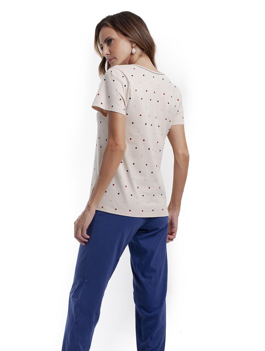 Pijama com Calça Comprida e Manga Curta em Malha de Algodão