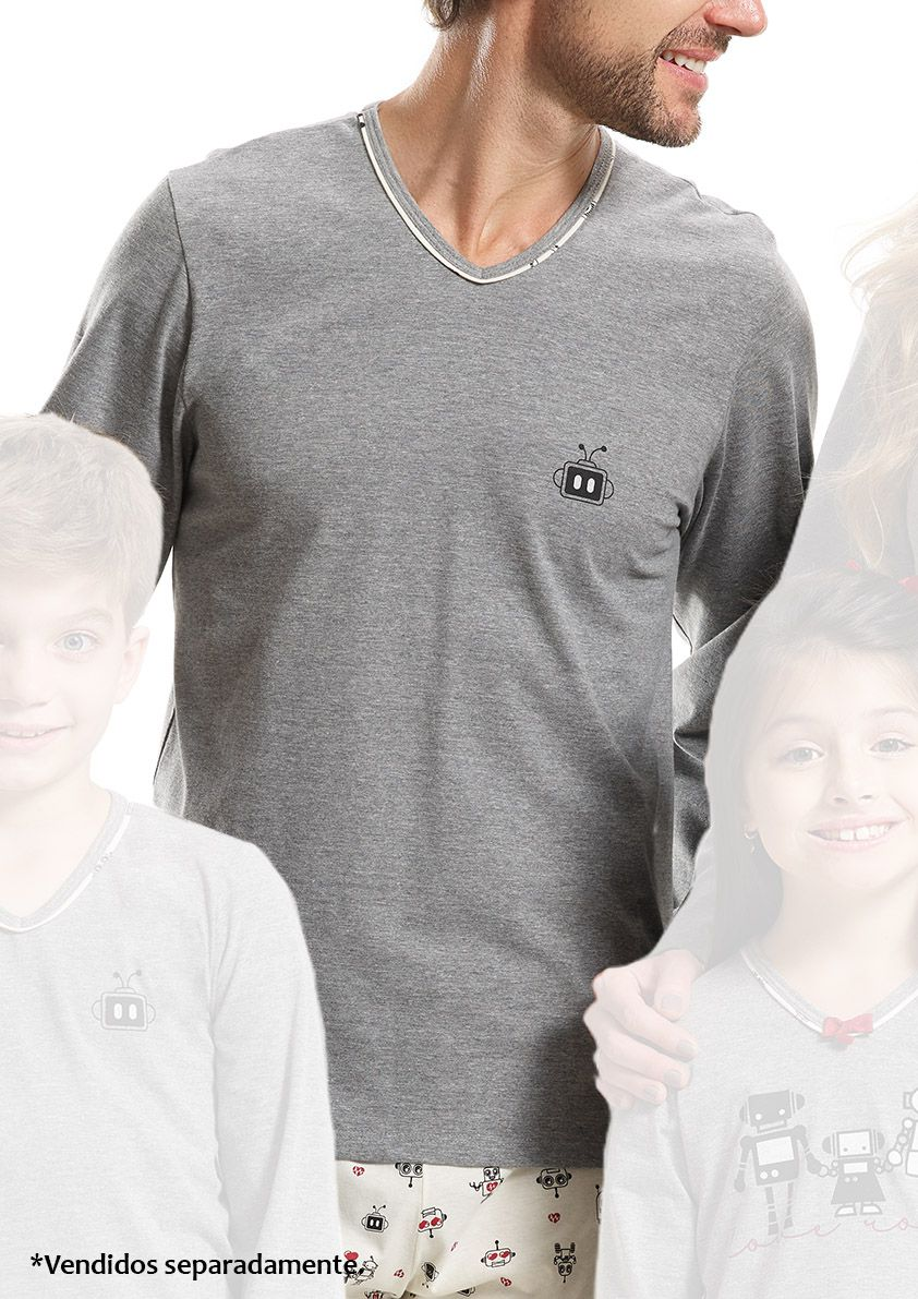 Pijama Longo de Meia Estação para Homem em Malha de Algodão