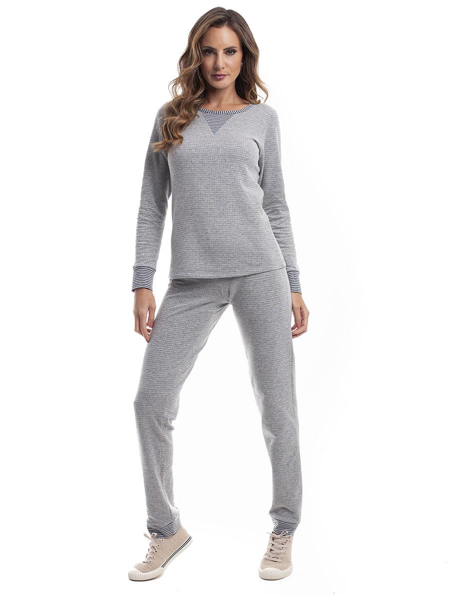 Pijama Longo Feminino para Frio em Malha Dupla