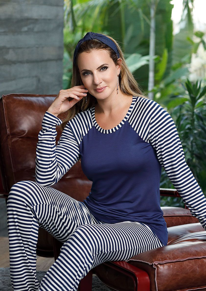 Pijama Longo com Manga Raglan para Meia Estação em Viscolycra