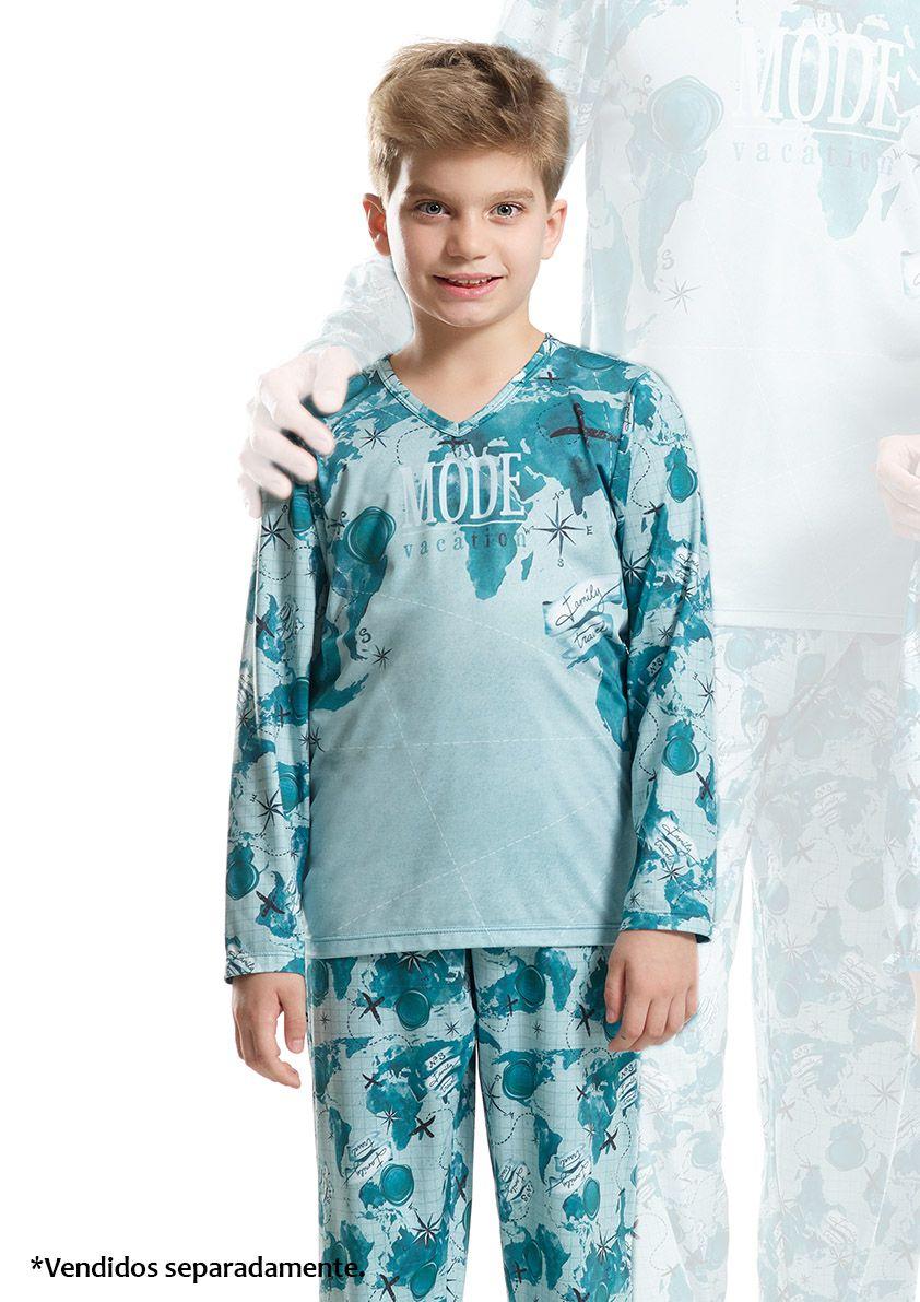 Pijama Longo infantil masculino para Frio em Microfibra Sublime Soft
