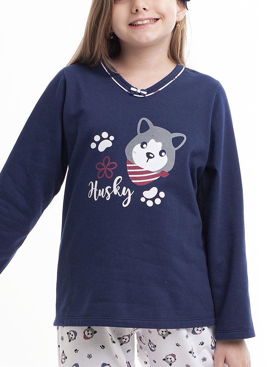 Pijama Longo infantil para Frio em Moletinho Felpado