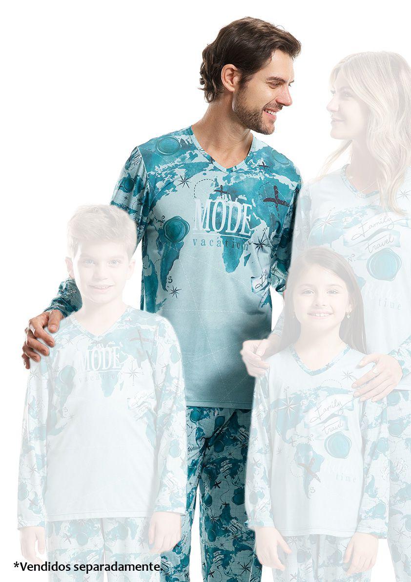 Pijama Longo Masculino para Frio em Microfibra Sublime Soft