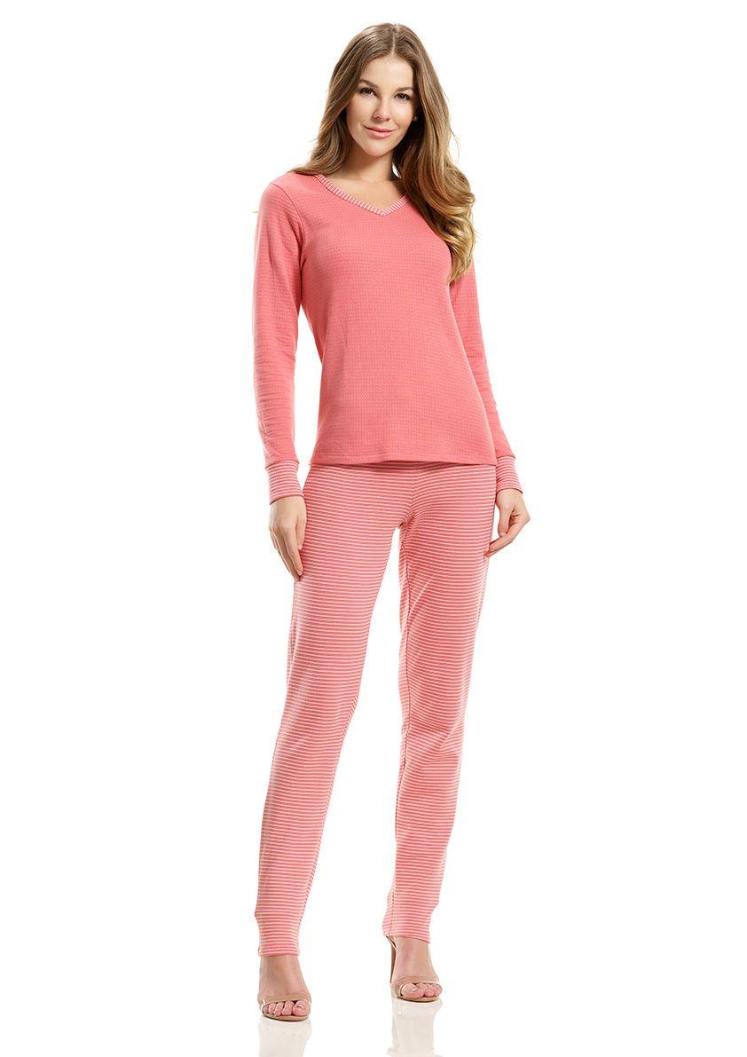 Pijama Longo para Frio em Malha Dupla