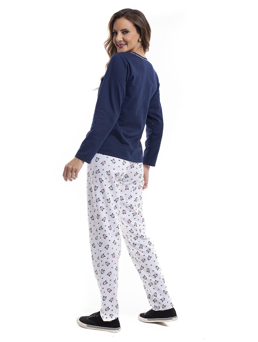 Pijama Longo Feminino para Frio em Moletinho Felpado