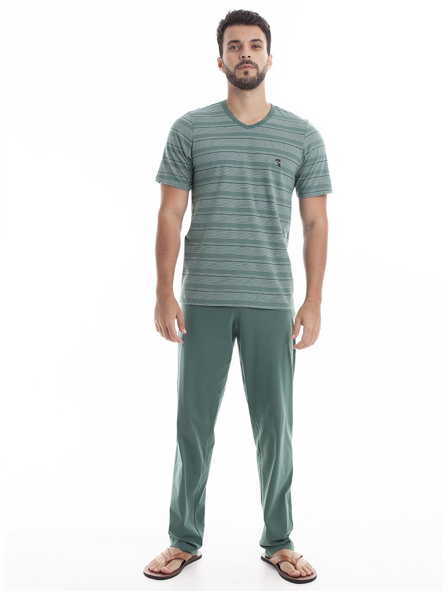 Pijama Longo para Homem para Meia Estação em Malha de Algodão Fio Tinto