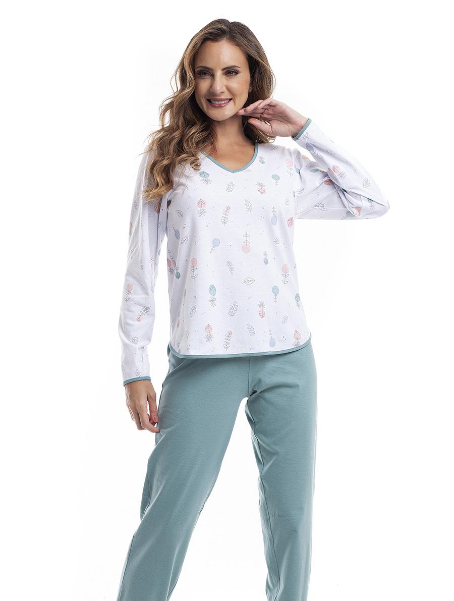 Pijama Longo Feminino para Meia Estação em Malha de Algodão