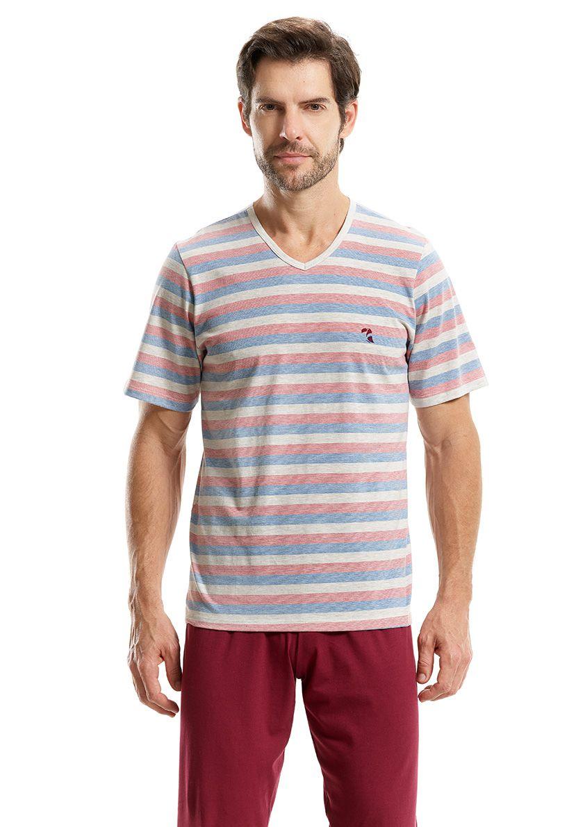 Pijama manga curta com calça comprida para Homem em Malha de Algodão Fio Tinto