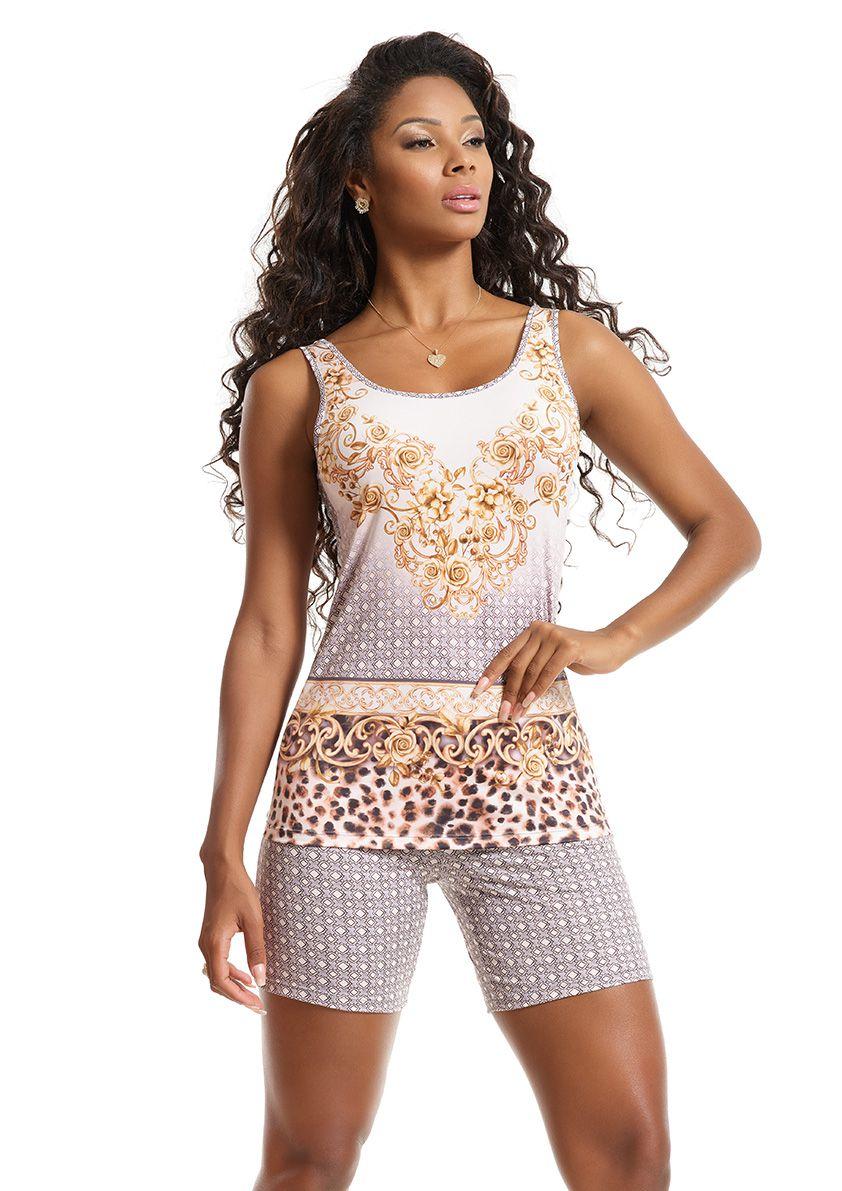Pijama Bermuda Regata com Costas Cavada em Microfibra Sublime