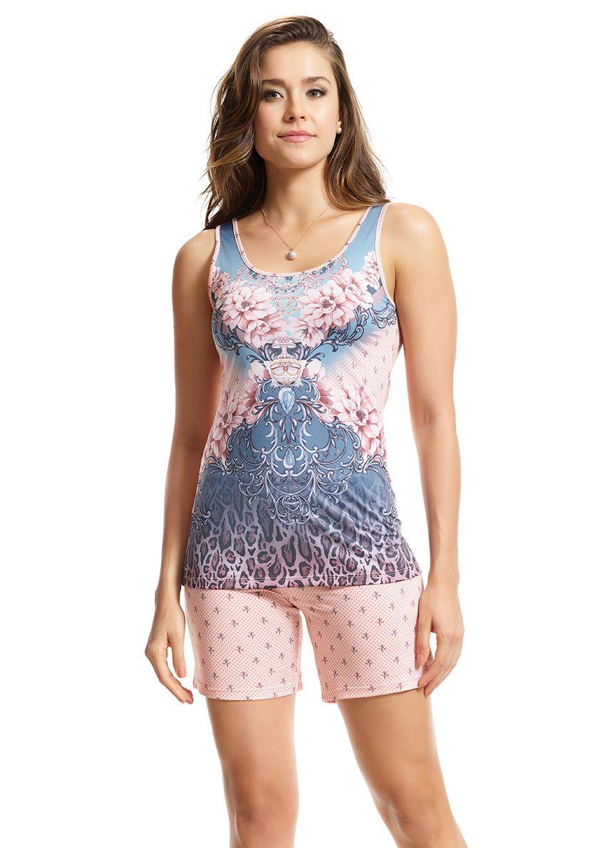 Pijama com Bermuda Regata em Microfibra Sublime
