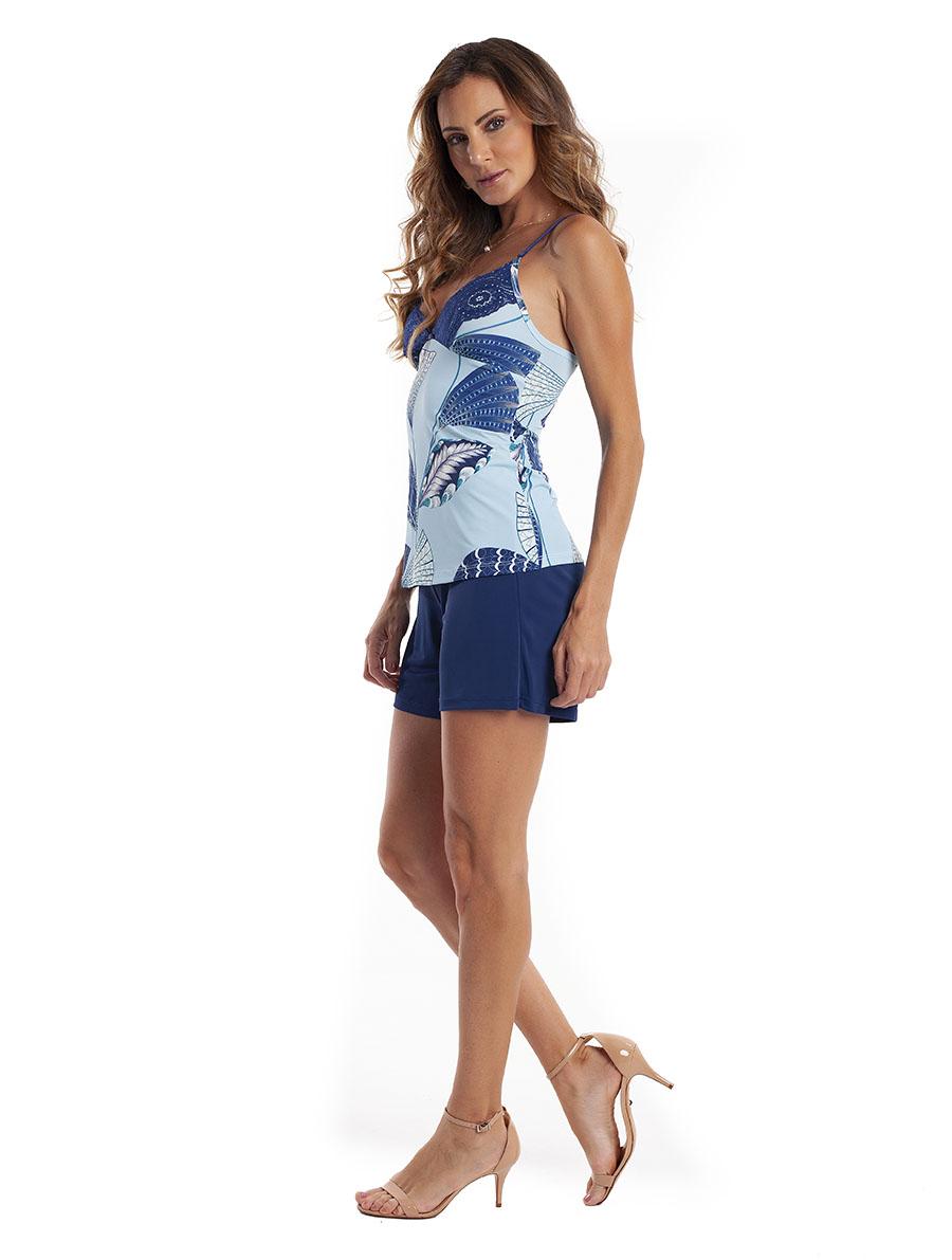 Pijama Bermuda com Alças Reguláveis em Liganete Super Light