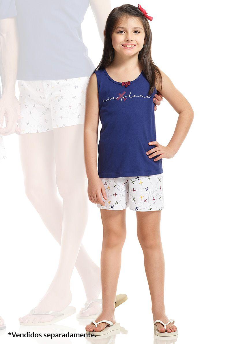 Shortdoll Regata Infantil com Costas Cavada em Malha de Algodão