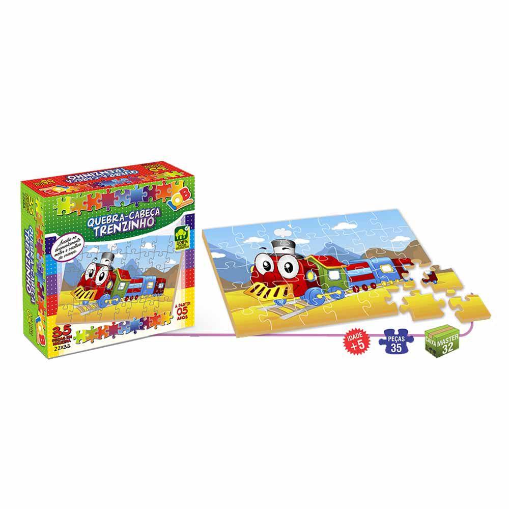 Brinquedo Pedagógico Quebra Cabeça Trenzinho c/ 35 peças - IOB