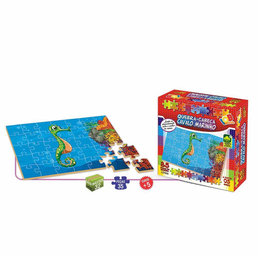 Brinquedo Pedagógico Quebra Cabeças Cavalo Marinho c/ 35 peças - IOB