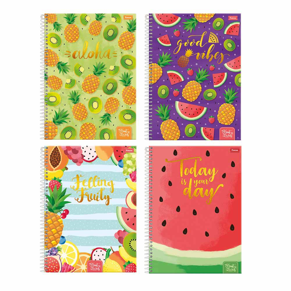 Caderno Univ CD Esp Fruit Lovers 01 mat 96fls - Foroni