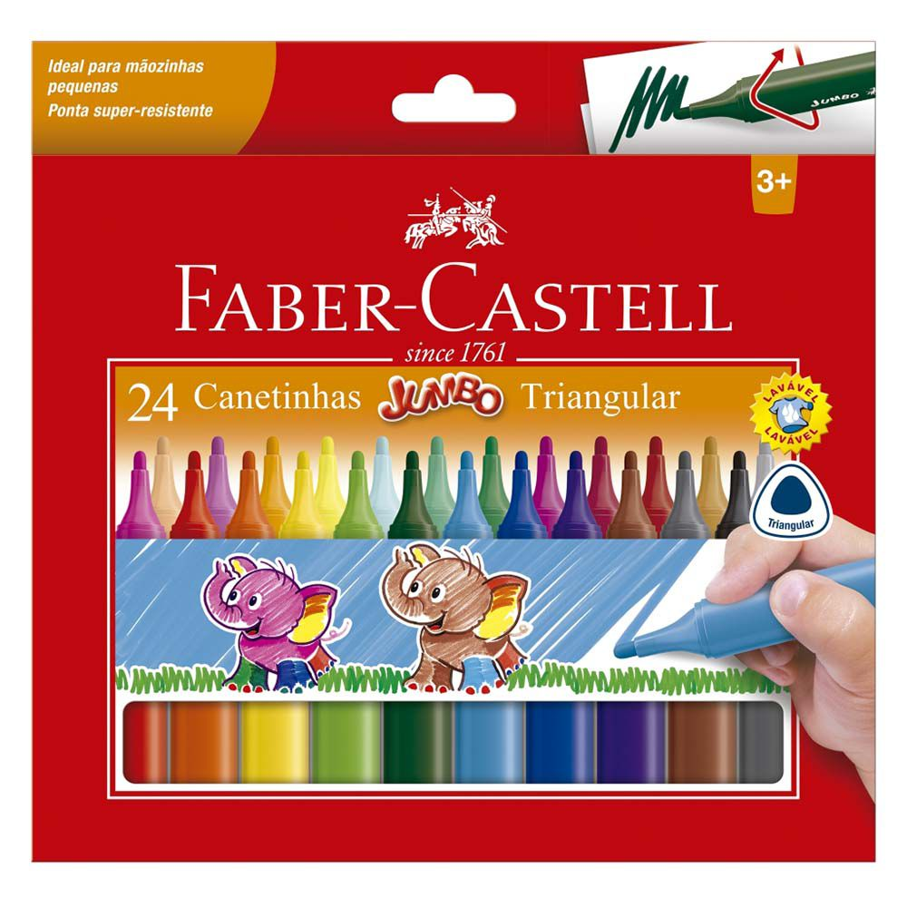 Canetinha Hidrográfica 24 cores Jumbo - Faber Castell