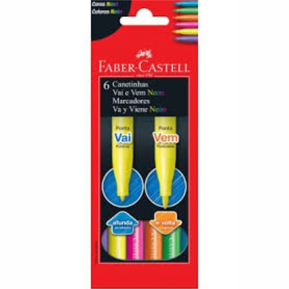 Canetinha Neon Vai-Vem 6 Cores - Faber-Castell