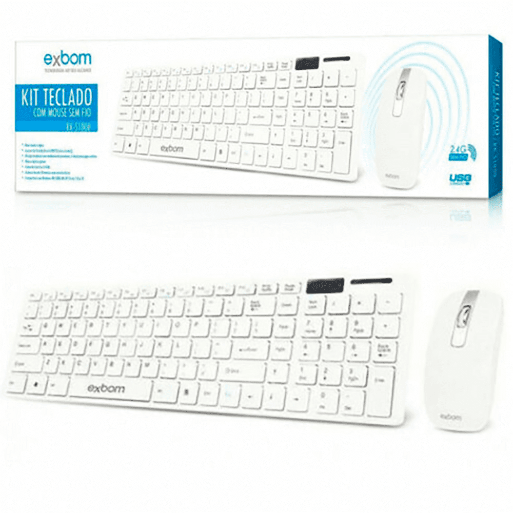 Kit Teclado e Mouse s/ Fio Branco 2.4GHZ BK-S1000 - Exbom