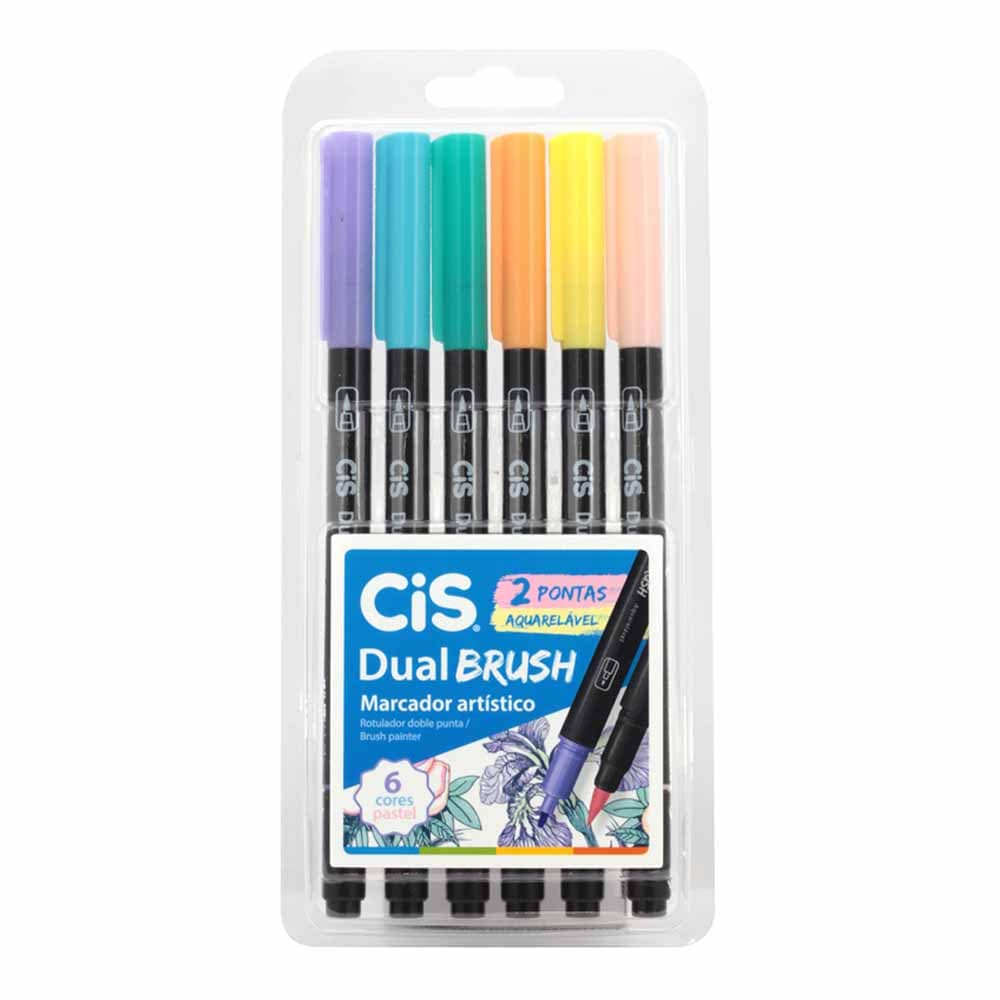 Marcado Dual Brush Pastel Estojo c/6 - CIS