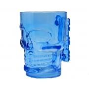 2 Copo Caveira de Vidro 500ml Azul