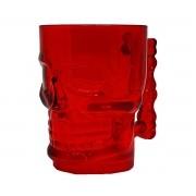 2 Copo Caveira de Vidro 500ml Vermelho