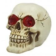 Caveira Crânio De Resina Cabeça Olhos com Led