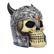 Caveira Vikings Com Com Capacete Cabeça Crânio De Resina