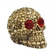Crânio de Caveiras com LED Texturizado de Resina