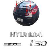 Emblema Traseiro Hyundai I30 2.0 2009 À 2012 3 Peças Cromado