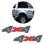 Par Emblema Adesivo 4x4 Ranger Limited 2004 2005 Cinza