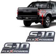 Par Emblema Adesivo S10 Flex Power 2009 2010 2011 Vermelho