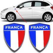 Par Emblema Escudo França Automotivo Carro Borda Cromada